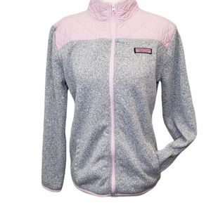 Vineyard Vines Pink Quilted Grey Full Zip Sweater Girls Extra Large Size 16